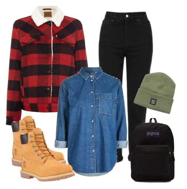 """""""winter3"""" by adela-simkova on Polyvore featuring Levi's, Topshop, Timberland, Herschel Supply Co. and JanSport"""