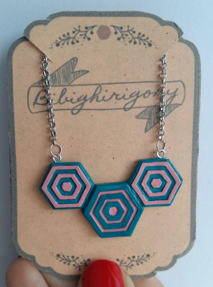 Collana geometrica esagonale geometrico minimal di bibighirigori su Etsy
