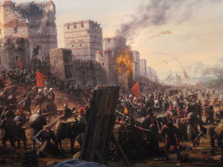 "The fall of Constantinople of 1453. It brought an end to the Eastern part of the Roman Empire, which by 1450 it almost consisted of but a few square kilometres outside Constantinople itself. The Islamic armies had simply become too populous. And as a Hungarian (""Orban""), also taught them how to make cannons, the city's fabled walls, which had stood for a millennium, could no longer defend it."