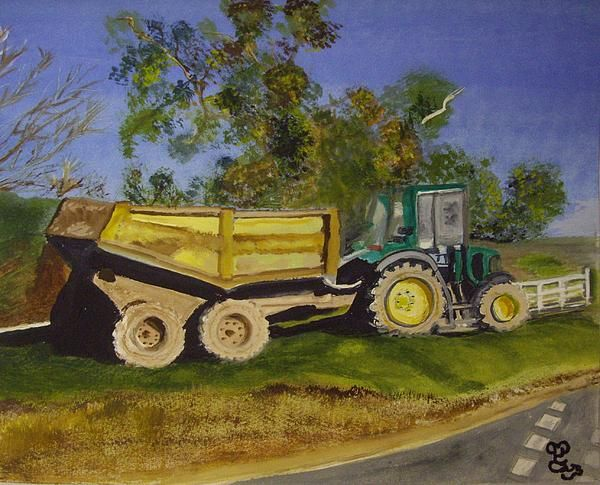 Roadside At'tractive! watercolour This old tractor was seen on a grass verge, in the Isle of Wight