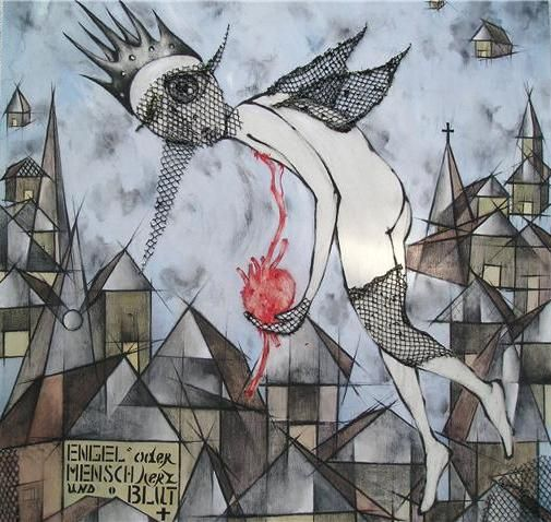 SOLD!  Κέλλυ Μέντζου/Kelly Mentzou, My wings of desire, 2008, λάδι /oil, φύλλο χρυσού 24 cts/24cts gold leaf, ακρυλικό/acrylic, σχοινί/rope, δίχτυ/net, κάρβουνο και παστέλ σε μουσαμά/charcoal and pastel on canvas, 110 x 120 cm  #kellymentzou #www_dlfineartsgallery_com #artwork #lovers #abovetown #heart #angel #blood #net #Berlin #chaos #privatecollection #greekpainter #greekartist #art #egallery #contemporaryart #webgalleryofart #painting #wingsofdesire