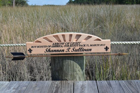 Arrow of light cub scout award plaque by CoastalGlassAndMill