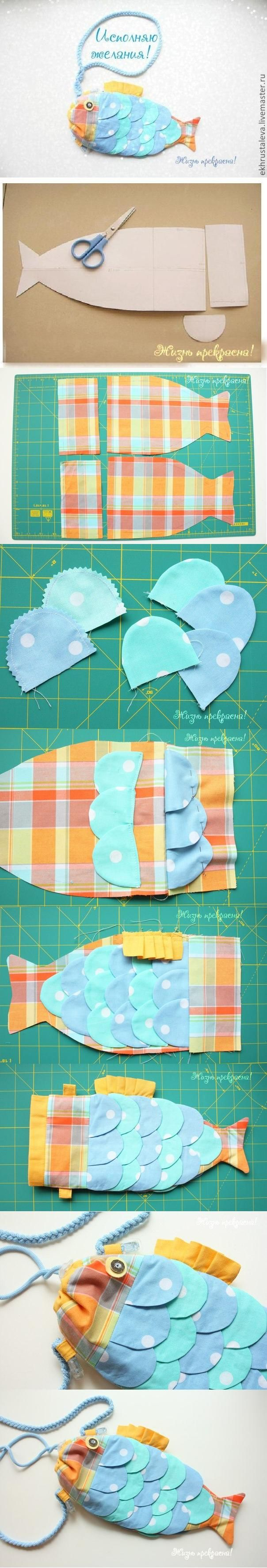 diy, diy projects, diy craft, handmade, diy ideas, diy children fish handbag - Folkvox - Imágenes que hablan de mí -