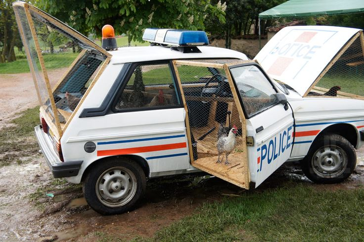 the artistic adventures of french artist Benedetto Bufalino can be trademarked by visually humorous transformations of consumable cultural objects. For one of his latest projects, he has reconstructed a 1970s french police car into a fully-functioning chicken coop fit for a farm..