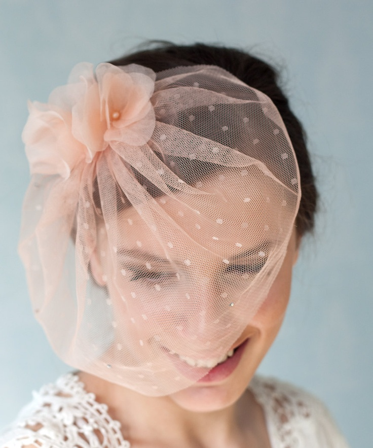 Peach Tulle Bridal Birdcage Veil With Handmade Silk Flowers Bridal Tulle Veil Soft Blush Pink