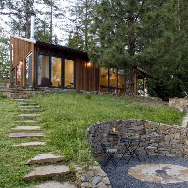 stairs wall forest garden cottage firepit stonewall