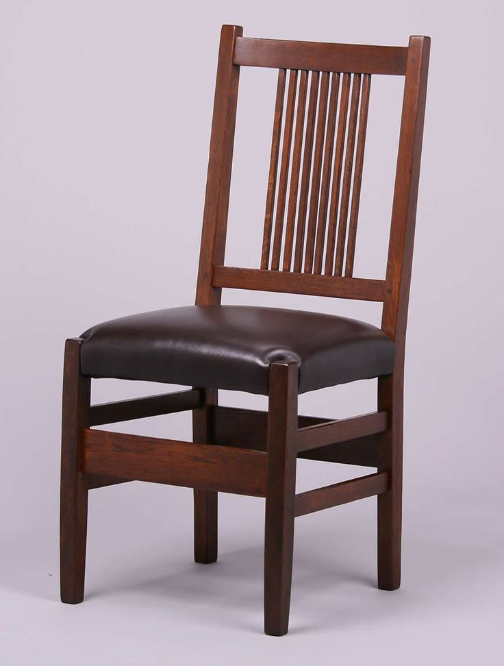 Set of 5 Gustav Stickley spindled side chairs.  Unsigned.  Refinished.                                                                                                                                                                                 More