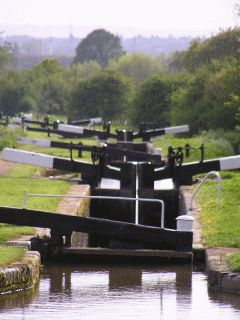 Tardebigge Locks or the Tardebigge Flight is the longest flight of locks in the UK, comprising 30 narrow locks on a two and a quarter mile stretch of the Worcester and Birmingham Canal at Tardebigge, Worcestershire, England.