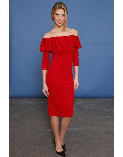 Sukienka z dekoltem hiszpanka - czerwony