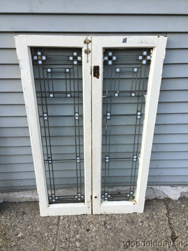 2 Antique Prairie Style Stained Leaded Glass Doors Windows 45 X 14 Arts Crafts