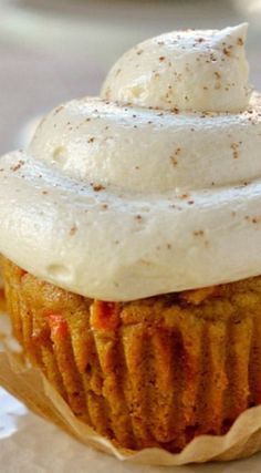 Pumpkin Carrot Cake Cupcakes with Maple Cream Cheese Frosting