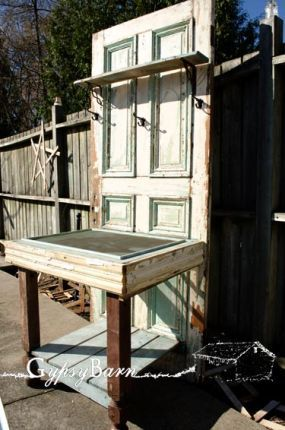 recycled items potting table