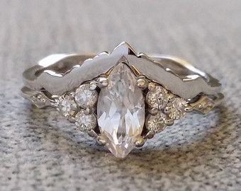 """Juego anillo de bodas victoriano pulido geométrica bohemio antiguo filigrana delicado 14K de oro blanco """"Delphine"""""""