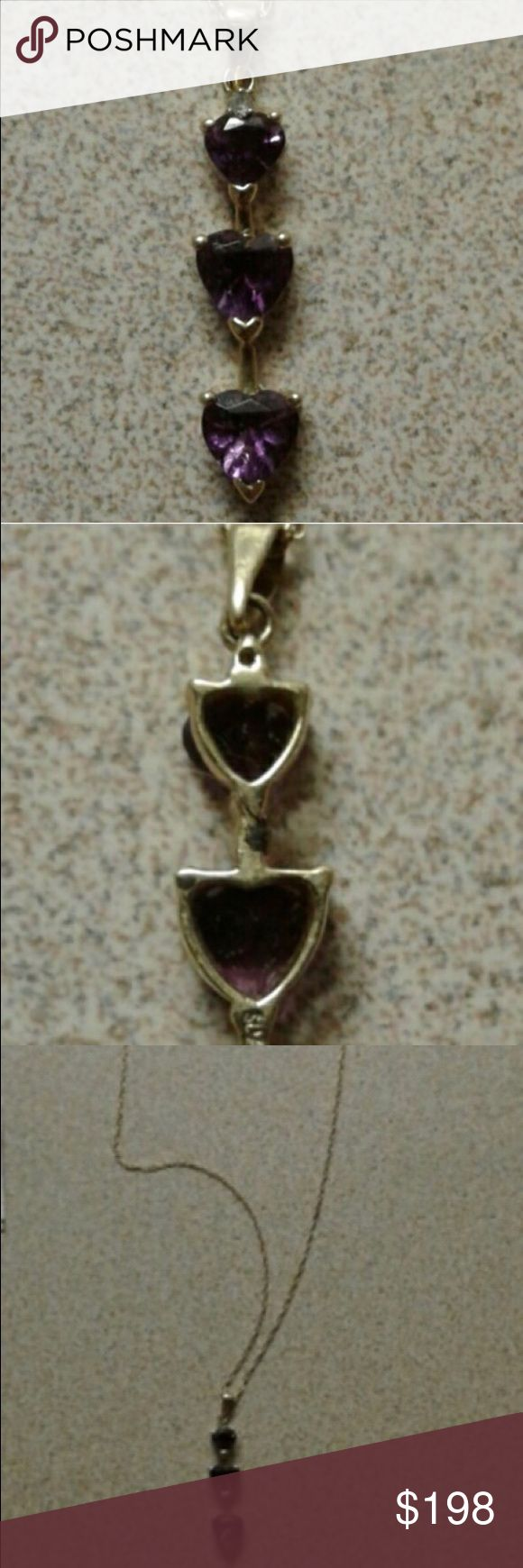14K AND AMETHYST NECKLACE REAL 14k AND GORGEOUS AMETHYST NECKLACE TRADE VALUE $300 Jewelry Necklaces