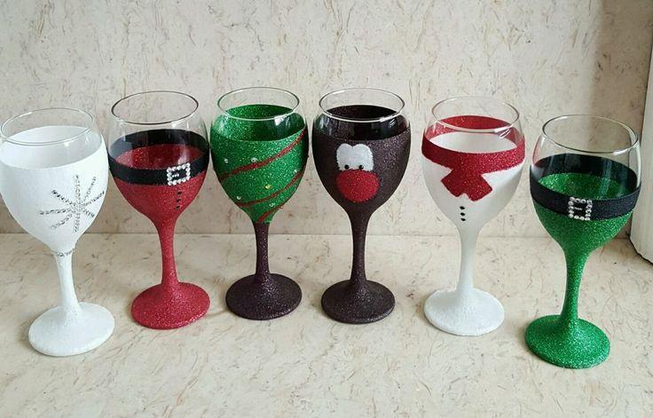 6 Christmas glittered glasses