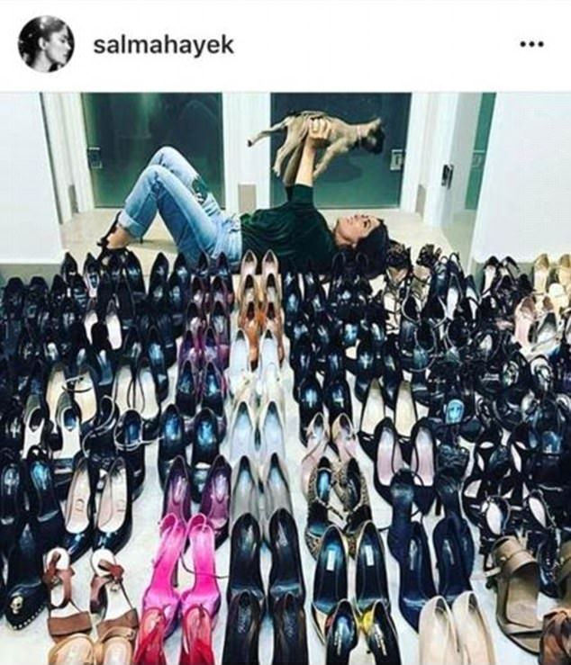 Salma Hayek must have got cold feet after posting on Instagram this picture of her vast shoe collection last week