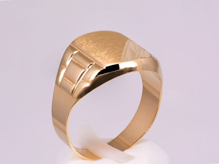 Δαχτυλίδι αντρικό, χρυσό  Κ14 με πλάκα