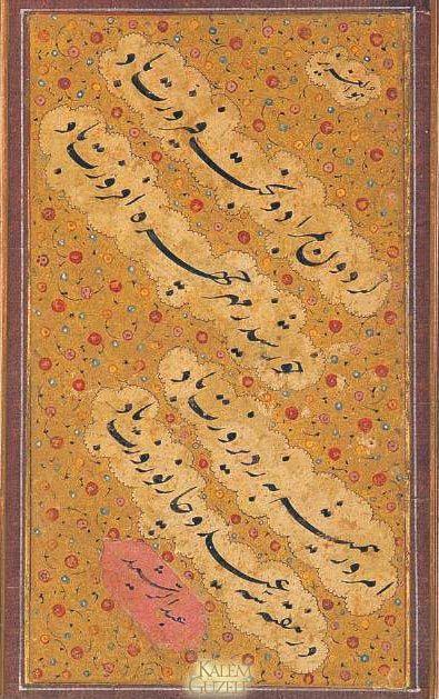 """© Abdürreşid - Kıta-İsfahanlı Abdürreşid talik yazıda yeni bir yol açan Üstad İmad'in öğrencisidir. Yazısı çok beğenilen bir hattattı. 1647'de vefat etti.Ketebeli. Talik hatla Farsça şiirler yazılı. Satır araları altın üzerine çiçek motifleriyle tezhiplenmiş. 27x16 cm. Şevket Rado tarafından hazırlanan """"Türk Hattatları"""" kitabı s.98'de yer almaktadır."""