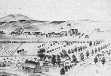 Swellendam about 1809. Drawing by J. Behr