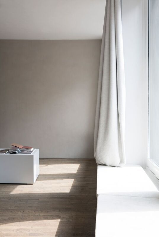 Leather cushions for window sills designed by NORM.Architects for Kinfolk Gallery. Sorensen Leather: Royal Nubuck / Off White. Photo: Jonas Bjerre-Poulsen / #normarchitects #kinfolkgallery #kinfolk #theredsocial #sorensenleather