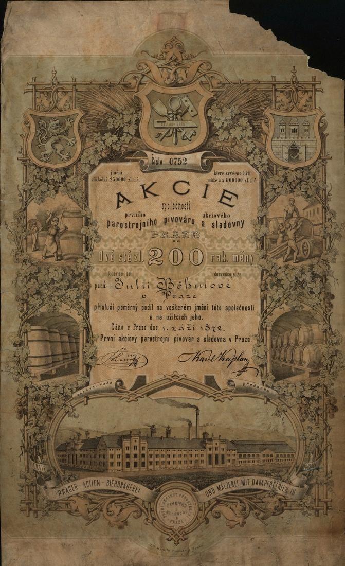 První akciový parostrojní pivovar a sladovna v Praze (Erste Prager Actien-Bierbrauerei und Mälzerei mit Dampfbetrieb in Prag Podbaba). Akcie na 200 Zlatých. Praha (Podbaba), 1872.