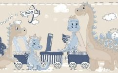 tapet bordura dinozauri albastru 2273