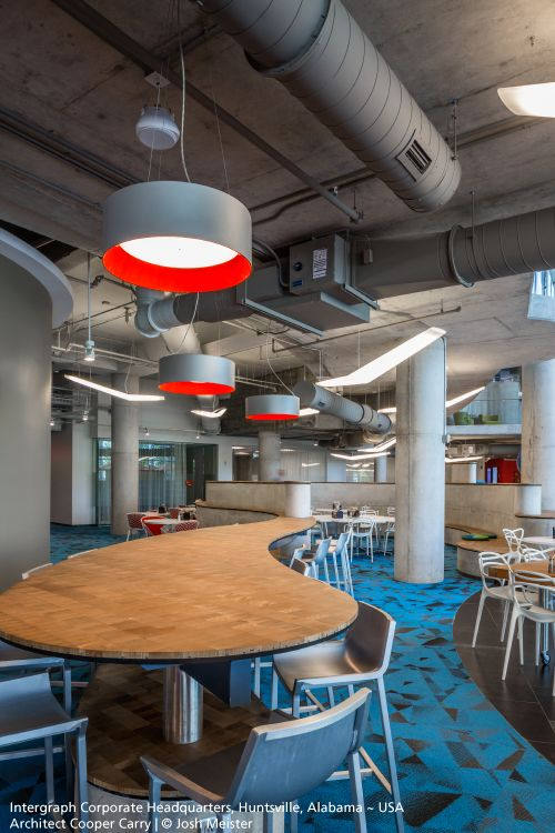 Amazing #Tagora suspensions with their custom grey and red finish for the Intergraph Corporate Headquarters ! #design S./R. Cornelissen ► http://bit.ly/TAGORA_S570 And of course you recognize the #Mouette suspensions by Jean-Michel Wilmotte ► http://bit.ly/MOUETTE