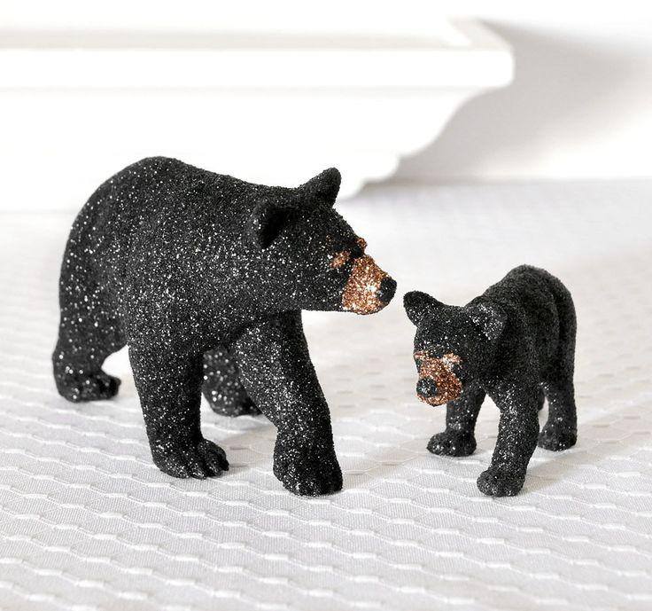 Black Bears Mom And Baby Cub Glitter Table Decoration For