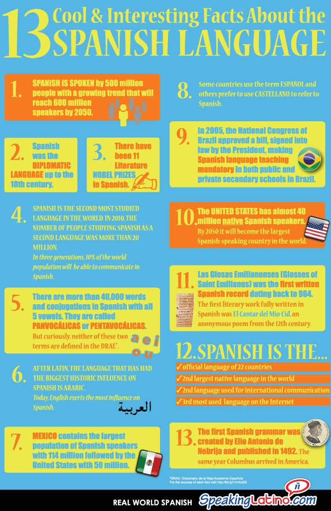 Facts About Spanish Printable Posters (4 Sizes)