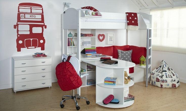 Modernes Mädchenzimmer mit roten Akzenten einrichten