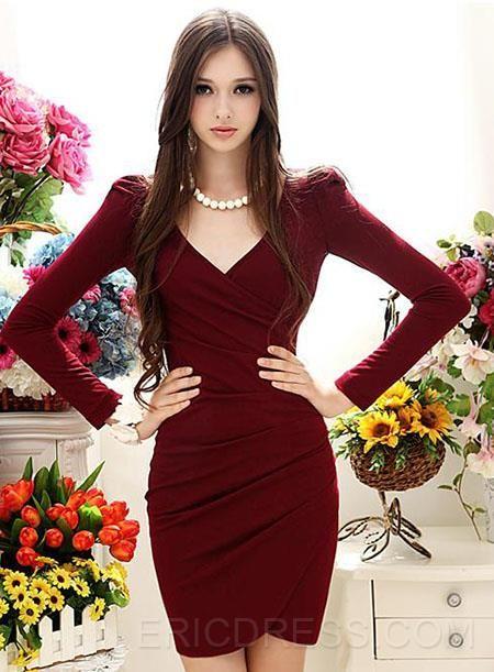 Simply Slim Long Sleeve V-neckline Dress Bodycon Dresses