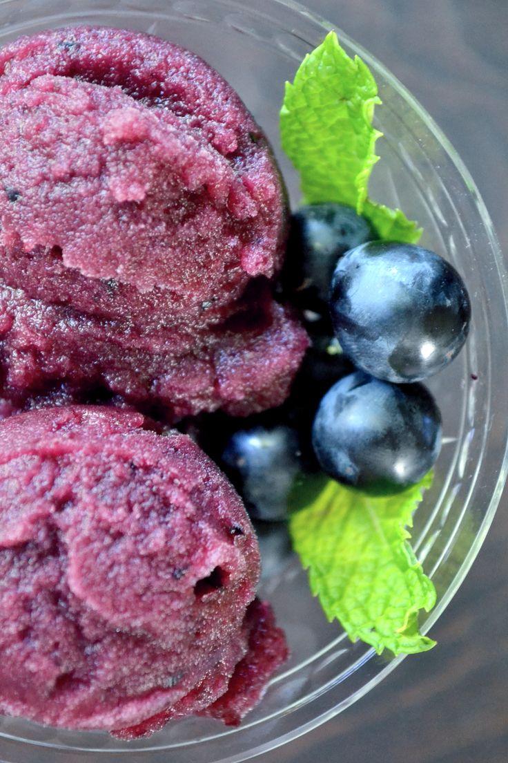 Concord Grape Sorbet: 1 lb Black grapes 2 Small lemons (juice) 1/4 cup Brown sugar 3 tbsp Cognac 1/2 cup Water