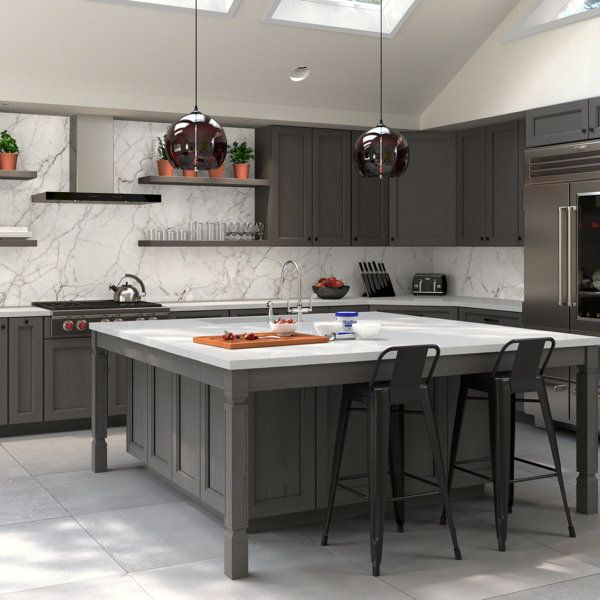 Midtown Grey kitchen cabinets from Town collection by Forevermark feature a simple yet elegant design. Stained in Eucalyptus Grandis, cabinetry adds a unique look to any home. Some of the exquisite features are: matching interior finish, plywood box construction, soft-close, full-extension drawers, and sturdy, 3/4″ adjustable shelves.  #kitchencabinets #kitchendesign #kitcheninterior #forevermarkcabinets #forevermarkcabinetry #interiordesign #kitchendecor #kitchencabinetry #greycabinets