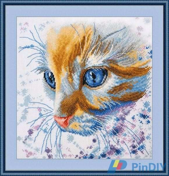 cs-2042 Counted Cross Stitch Kit Redhead Colorful Color Cat Kitten Kitty Head Close Up Feature obeh