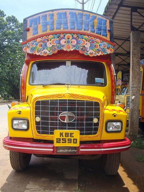 Tata truck, I especially like the floral piece above the windshield.