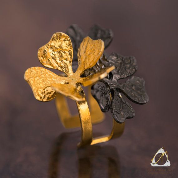 Handcrafted Almond flower two-tone statement ring