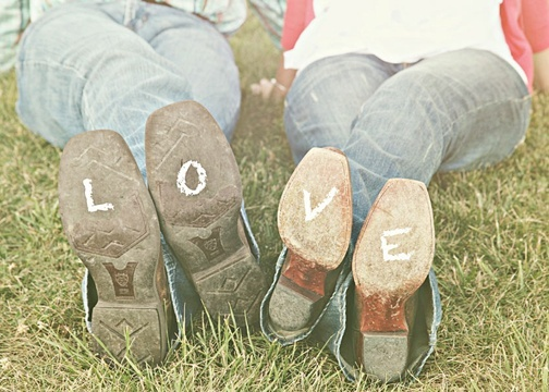 Aww!! Love this!  romantic country engagement photo think I would switch up the feet a little