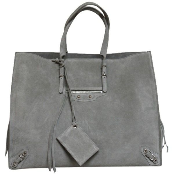 Pre-owned Balenciaga Papier A4 Gray Tote Bag (£1,250) ❤ liked on Polyvore featuring bags, handbags, tote bags, purses, balenciaga, grey, suede tote bag, suede handbags, tote purse and man bag