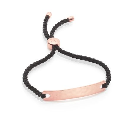 Absolutely love this!!!!!!! Black for Energy. This simple yet gorgeous friendship bracelet features a lightly hammered rectangle with a wavy, reflective finish. The bar measures 45mm x 7.5mm and a toggle slides to easily adjust the cord's length for a snug fit. Personalise with engraving on the front of the bar and on the toggle. Layer up with your favourite MV bracelets.</p>