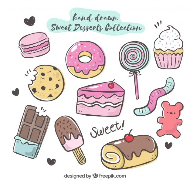 Sweet Desserts Collection In Hand Drawn Style Candy Drawing Cute Food Drawings Easy Doodle Art