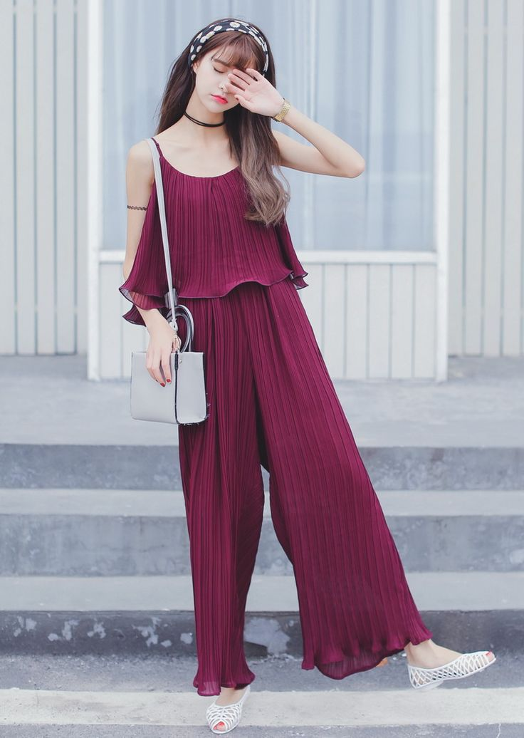 Romper Mori Girl 2016 summer style Korean fashion women sleeveless ruffled pleated chiffon palazzo pants jumpsuit To quality-in Jumpsuits & Rompers from Women's Clothing & Accessories on Aliexpress.com | Alibaba Group