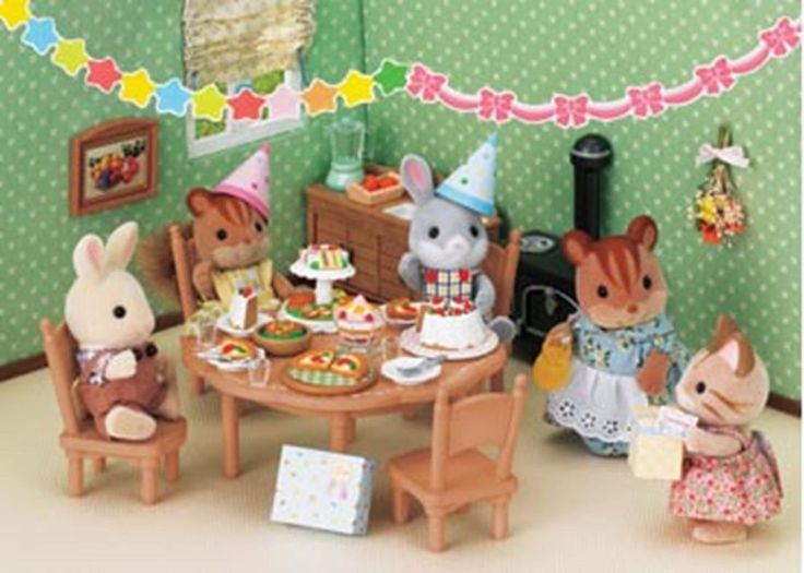 Pizza cake salad Sylvanian Families Party Set SF4269 #SylvanianFamilies