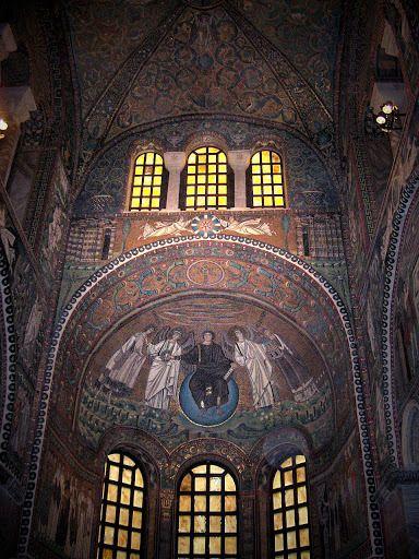 Chrystus Pantokrator, San Vitale w Rawennie, mozaika w apsydzie
