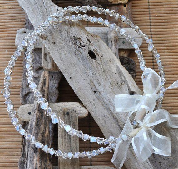 Beach wedding wreaths  wedding crown  orthodox stefana by AMMOUDIA, $120.00