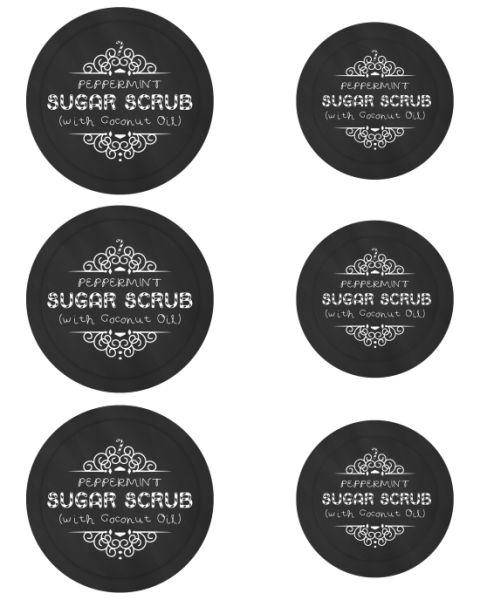 Mason Jar Labels for Peppermint Sugar Scrub