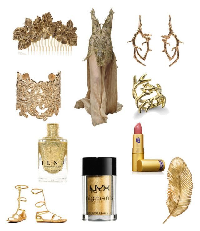 """""""Golden elf"""" by anahbooms on Polyvore featuring Maison Michel, Shine by S.H.O, Bonnie Star, Noemi Klein, House of Harlow 1960, NYX and Lipstick Queen"""