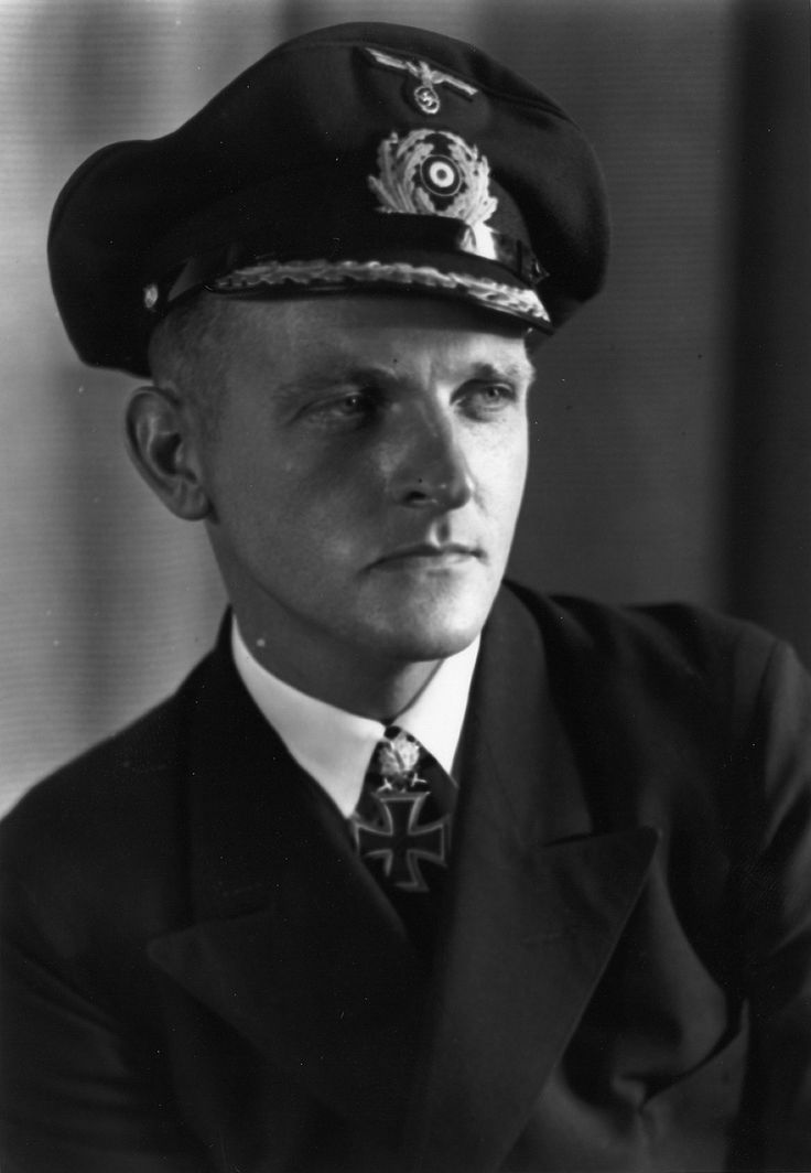 German submarine Korvettenkapitan Erich Topp (1914 - 2005) was the 3rd among the top scoring German sub commanders of WW2. Between 1940 and 1942, Topp sunk 34 ships, including a destroyer and an auxiliary warship, of 198,650 tons total displacement. In September 1942, Erich Topp was appointed commander of the 27th Submarine Flotilla. At the end of the war Topp, then commander of the submarine U-2513, surrendered on May 28, 1945 in Norway.