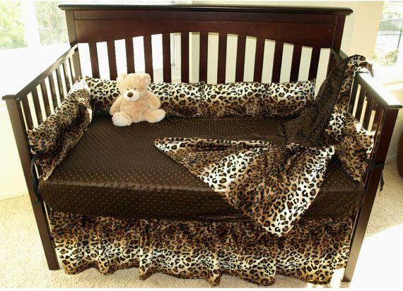 Leopard Print Crib Bedding Set by SewCustomCorporation on Etsy, $139.00