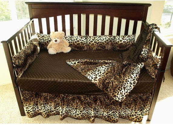 Leopard Print Crib Bedding Set by SewCustomCorporation on Etsy, $139.00