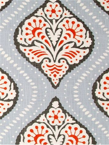 "Kavali Ogee Persimmon - Dwell Studio Fabric - Exclusive Robert Allen Design. Transitional medaillion on durable 100% cotton. Perfect for furniture upholstery or window treatments. 50,000 double rubs. Repeat; V 12.75"" x H 18"". UFAC; Class 1. 55"" wide."